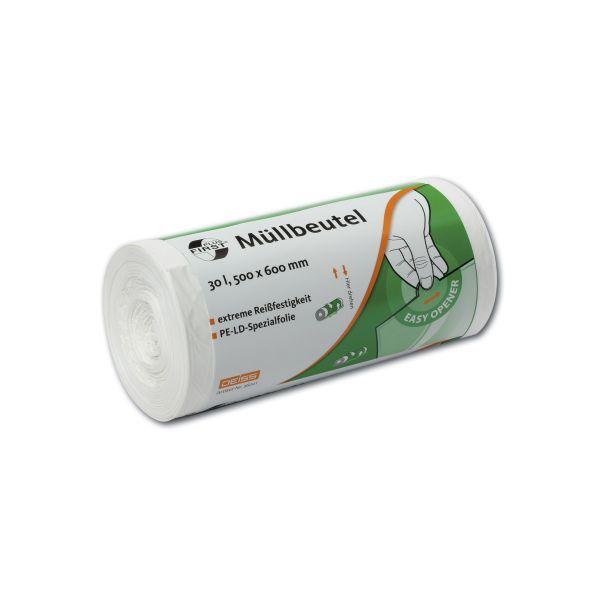 LDPE-Müllbeutel 500 x 600 mm, 12 µ, 30 l, weiß