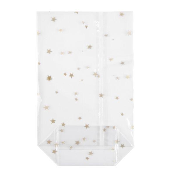 OPP-Kreuzbodenbeutel (mit Siegelnaht) 145 x 235 mm, 30 µ, hochtransparent, goldene Weihnachtssterne