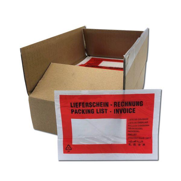 PP-Lieferscheintaschen 175 x 130 mm, Format C6, Druck: LIEFERSCHEIN - RECHNUNG