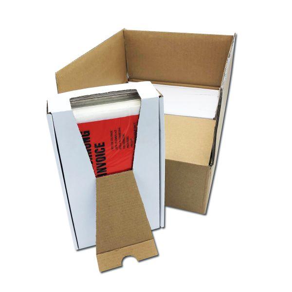 PP-Lieferscheintaschen 235 x 130 mm, im SPENDERKARTON, Format DIN lang, Druck: LIEFERSCHEIN - RECHNU