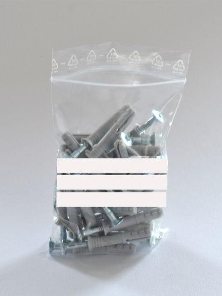 LDPE-Druckverschlussbeutel mit Beschriftungsfeld 220 x 310 mm, 50 µ